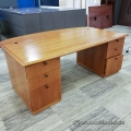 Medium Maple Executive Desk w/ Bow Front Leaf Extension + Cred
