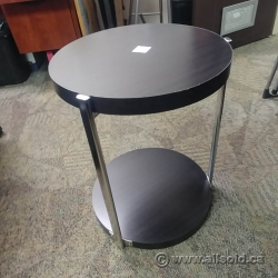 Espresso Round Side / End Table w/ Chrome Supports