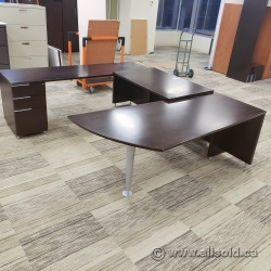 Espresso U Suite Office Desk with Pedestal Storage