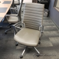 Global Accord Neutral Grey Leather Boardroom Task Chair