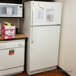 White GE Fridge with Top Load Freezer