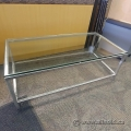 Glass Top Coffee Table with Heavy Duty Brushed Steel Base