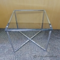 Pair of Glass Top Side End Table With Cross Shape Chrome Base