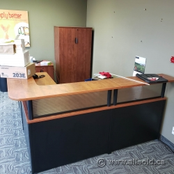 Sugar Maple L-Suite Reception Desk with Transaction Counter