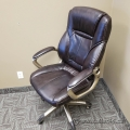 Dark Brown Leather Office Task Chair w/ Grey Base