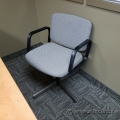 Light Grey Office Guest Chair w/ Fixed Arms and Cross Base