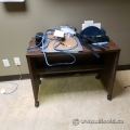 Dark Brown Rolling Work Table Desk Shell w/ Storage Shelf