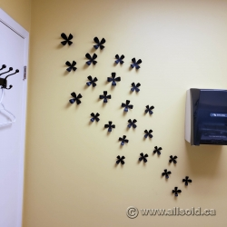 Set of Black Decorative Wall Flowers