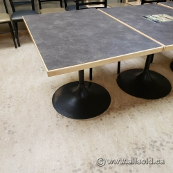 Grey Granite Office Table w/ Blonde Trim & Black Base