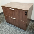 Walnut 2 Drawer Lateral File Cabinet, Locking