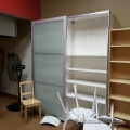 White Sliding Door Storage Cabinet w/ Adjustable Shelves