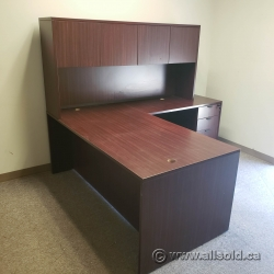 Mahogany L Suite Office Desk w/ Overhead and Client Knee Space