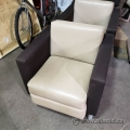 2 Tone Beige and Brown Leather Reception Lobby Chair