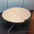 Light Tone Half Moon Semicircle Office Table