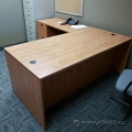 Heartwood Maple L Suite Desk w/ Dual Pedestal Storage