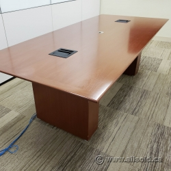 "96"" Medium Maple Boardroom Meeting Table with Power Connectivity"