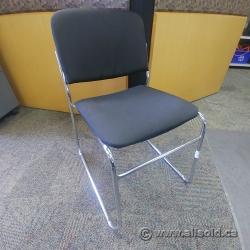 Black Cloth Guest Stacking Sleigh Chair w/ Chrome Base