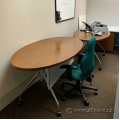 "Oval Rolling Training Table w/ Grey Base 60"" x 24"""