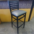 Black Frame Dining Guest Chair Bar Stool with Grey Seat