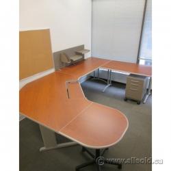 Teknion Cherry Sit Stand Height Adjustable U/C Suite Desk