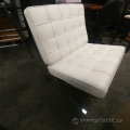 White Leather Chrome Lounge Chair Barcelona
