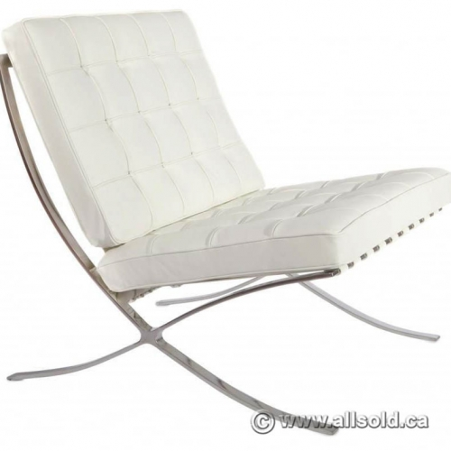 White Leather Chrome Lounge Chair Barcelona - Allsold ca