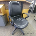 Black Leather Office Task Chair w/ Fixed Arms
