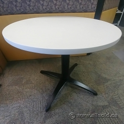 """36"""" Off White Teknion Round Table with Black Base"""