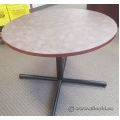 "Grey Surface 36"" Wood Trim Round Table"