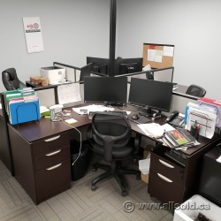 Espresso Grey Quad 4x Desk Units w/ Fabric Walls