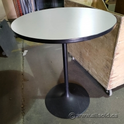 42 in Grey Granite Style Round Bistro Table W/ Black Trim & Base
