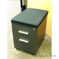 Charcoal 2 Drawer Rolling Pedestal w Black Cushion Seat, Locking