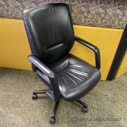 Keilhauer Black Leather Height Adjustable Meeting / Task Chair