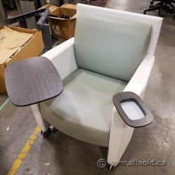 White Teknion Leather Armchair w/ Swivel Tablet and Cup Holders