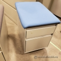 Steelcase 2 Drawer Grey Rolling Storage Pedestal w/ Blue Cushion