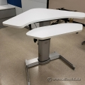 White Steelcase Airtouch Sit Stand Height Adjustable Corner Desk