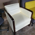 White Leather Office Reception Chair w/ Brown Frame