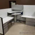 Grey and White Sit Stand Systems Furniture Cubicles Workstations