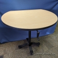 """42"""" Blonde Height Adjustable Rolling Round Table w/ Side"""