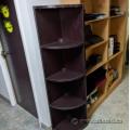 "65"" Espresso Corner Bookcase 3 Shelf Display Unit"