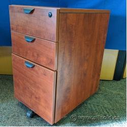 Mahogany 3 Drawer Letter Rolling Pedestal Cabinet SND