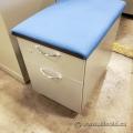 Steelcase 2 Drawer Grey Rolling Storage Pedestal w/ Cushion