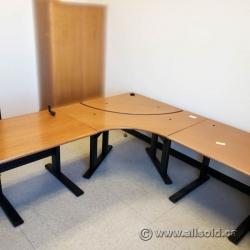 Peanut Height Adjustable L Suite Desk w/ Black Base