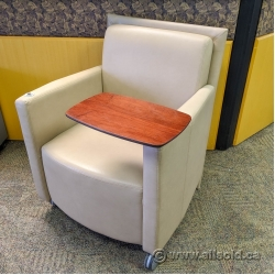 Tan Teknion Leather Armchair w/ Swivel Tablet and Cup Holders