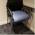 Blue Fabric Office Stacking Guest Chair w/ Mesh Back