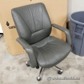 Grey Leather Adjustable Office Task Chair with Fixed Arms