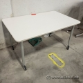 48 x 30 White Rolling Meeting Training Table