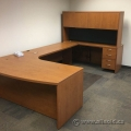 Bow Front Executive Sugar Maple U/C Suite Desk with Overhead