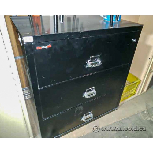 Fire King Black 3 Drawer Lateral Fireproof File Cabinet Allsold Ca