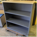 """42"""" Height Grey Wood Bookcase w/ Blonde Top"""